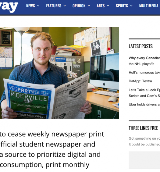 On Feb. 3, the Gateway announced it would discontinue its print issue, replacing it with expansive digital coverage and a monthly magazine. Screenshot by J-Source.