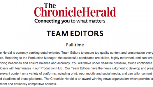 While workers strike, Chronicle Herald starts hiring