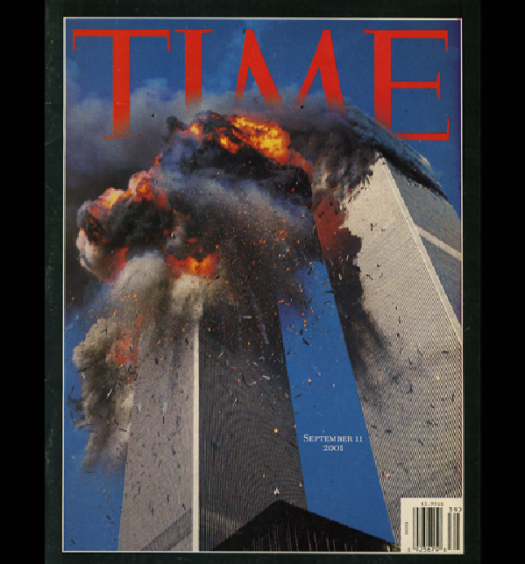 Time Magazine's September 11 special edition cover. Photo courtesy of Lyle Owerko/ Time Magazine