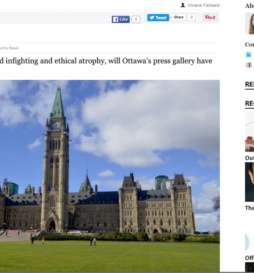 In this Ryerson Review of Journalism feature, Viviane Fairbank explored the culture of the Parliamentary Press Gallery. Screenshot by J-Source.