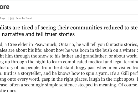 Erin Sylvester's feature explores the work that Indigenous journalists are doing and how newsrooms in Canada can do a better job of including Indigenous voices. Screenshot by J-Source.