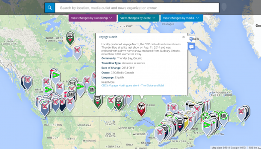 Crowd-sourced map tracks what's happening to local news outlets across Canada