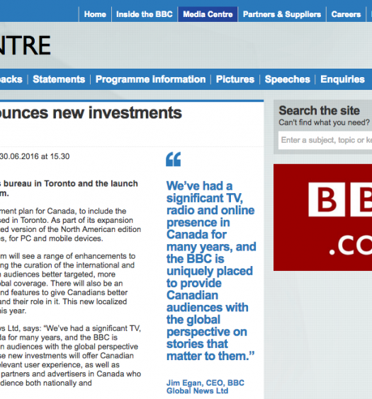 The BBC's announcement that they would be expanding in Canada. Screenshot by J-Source.