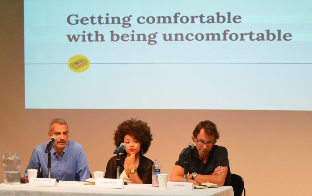 Kamal Al-Solaylee, Angelyn Francis and Jim Rankin discuss how reporters can get comfortable while covering controversial stories at an RJRC panel. Photo courtesy Madeleine Binning.
