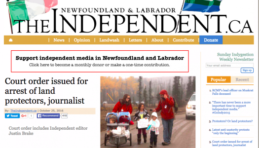 What led to a journalist covering Muskrat Falls being named in a court order?
