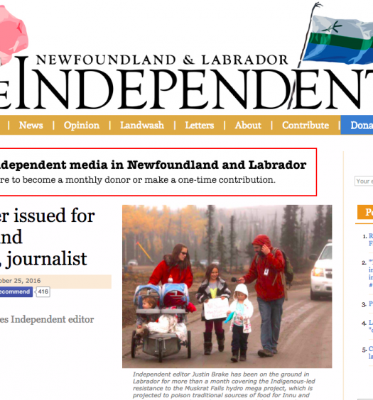 The Independent reports on journalist and editor Justin Brake being named in an arrest order. Screenshot by J-Source.