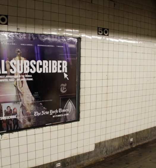 An ad for the New York Times digital subscription service. Photo courtesy André-Pierre du Plessis/CC BY 2.0.