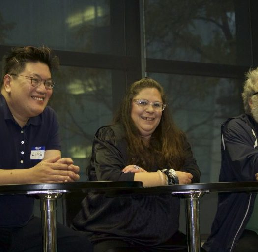 Luis, Suzanne Feldman and Rod Radford discuss creating short documentary films on mental illness. Image courtesy of Allison Ridgway.