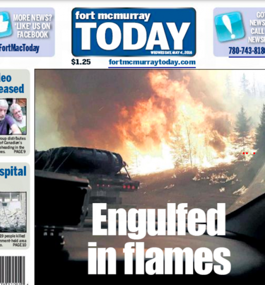 The May 4, 2016 issue of Fort McMurray Today, published after wildfires encroached on the Alberta city. Screenshot by J-Source.