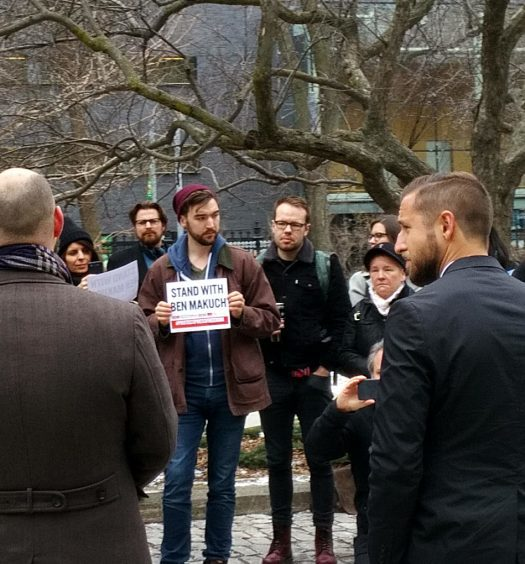 """Canadian Journalists for Free Expression hosted a rally outside Osgoode Hall during the appeal. """"We're not facing a brave new world, but a frightening new world,"""" CJFE executive director Tom Henheffer (left) told a small crowd. Right: Ben Makuch."""
