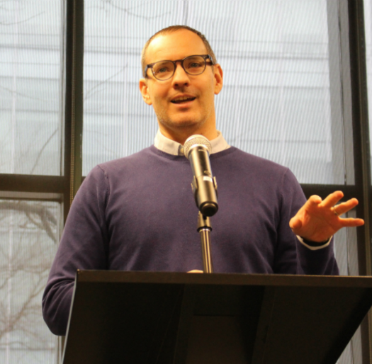 Craig Silverman, media editor for BuzzFeed News, delivers this year's Atkinson lecture on fake news at the Ryerson School of Journalism. Photo courtesy of Jasmine Bala.