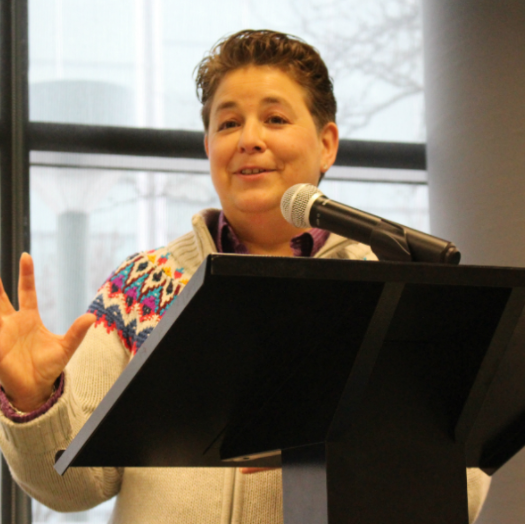 Gail Cohen, former editor of the Law Times, kicks off the Ryerson School of Journalism's teach-in event on March 13, 2017. Photo courtesy of Jasmine Bala.
