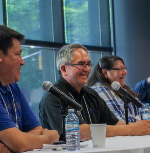 Lenny Carpenter, Wawmeesh Hamilton, Maureen Googoo and Michael Dick at the Ryerson School of Journalism June 4. Photo courtesy of Abby Plener.