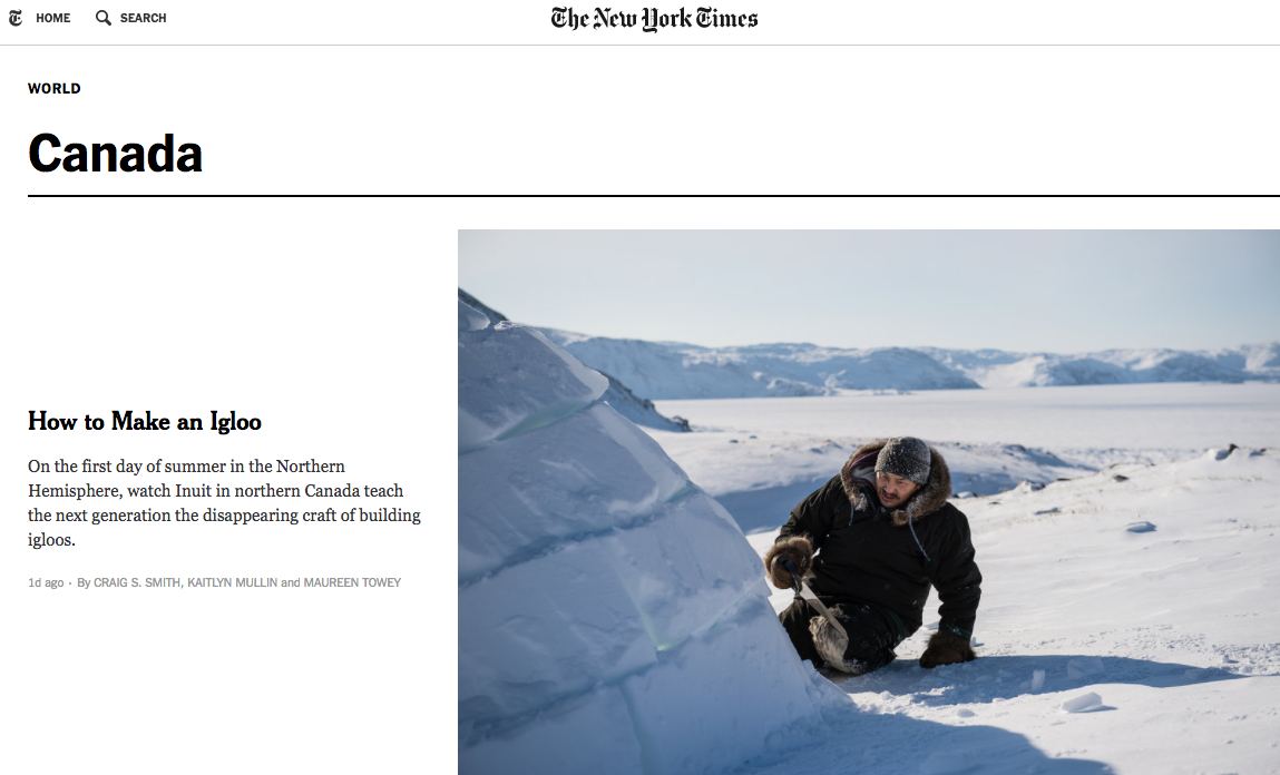 The New York Times has started expanding their presence in Canada in the last year. Screenshot by J-Source.