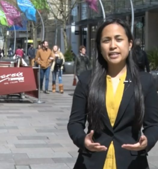 Shelley Pascual reporting for Cardiff News Plus last year in Wales. Photo courtesy of Shelley Pascual.
