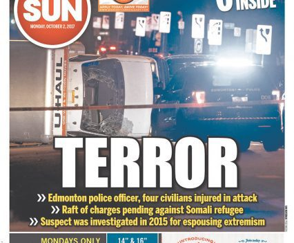 Calgary Sun front page