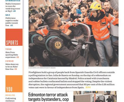 Montreal Gazette front page