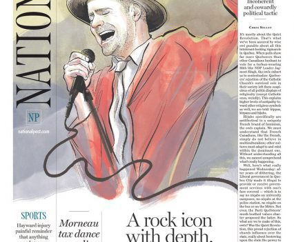 """National Post front page with headline """"A rock icon with depth and grace, too"""""""