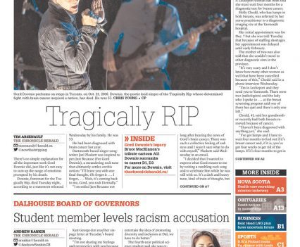 """The Chronicle Herald front page with headline """"Tragically RIP"""""""