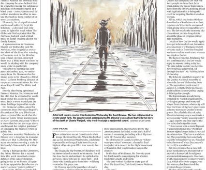 """Globe and Mail front page with illustration of Gord Downie walking down train tracks and cover line """"1964-2017: Gord Downie"""""""