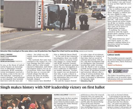 Globe and Mail front page