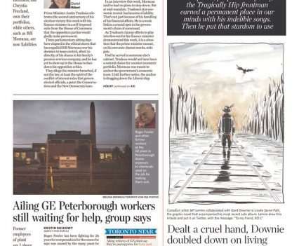 """Toronto Star front page with top right block reading """"Gord Downie 1964-2017: With power, purpose and poetry, the Tragically Hip frontman earned a permanent place in our minds with his indelible songs. Then he put that stardom to use"""""""
