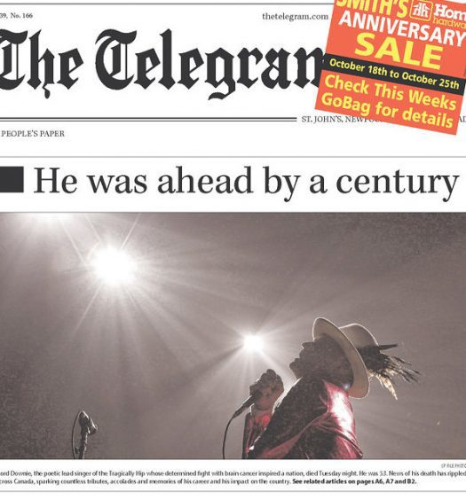 """The Telegram front page with headline """"He was ahead by a century"""""""