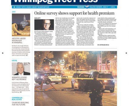 Winnipeg Free Press front page