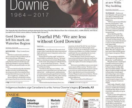 """Waterloo Region Record with cover line """"Gord Downie 1964-2017"""""""