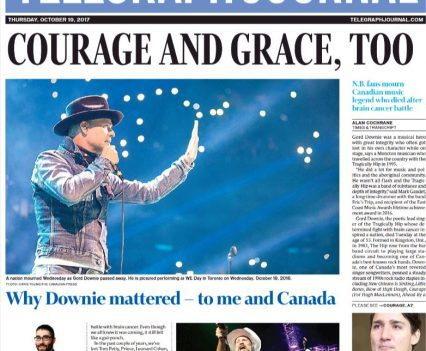 """Telegraph-Journal front page with headline """"Courage and grace, too"""""""