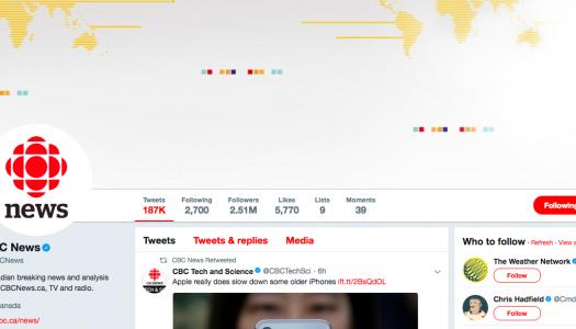Canada's top media tweeters in 2017
