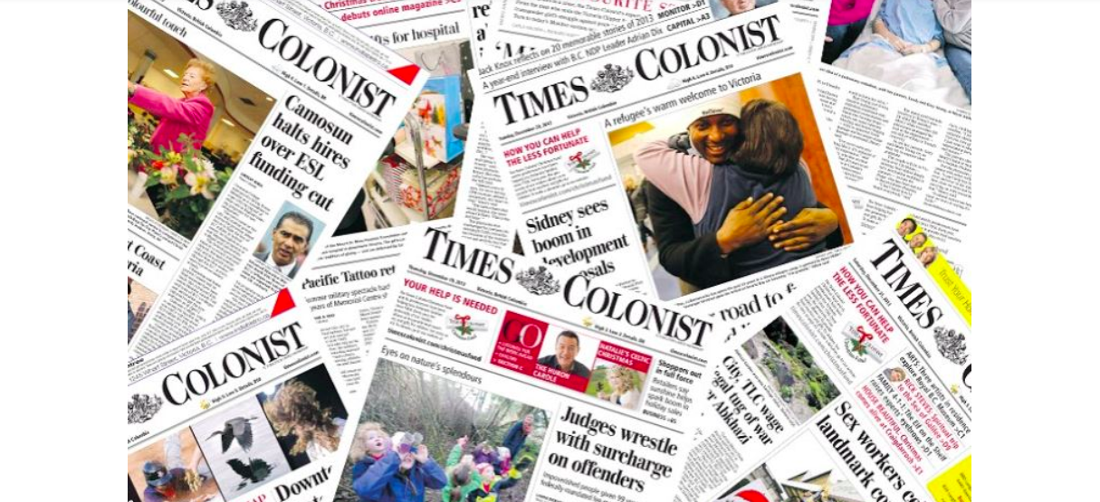 Collage of Times Colonist covers