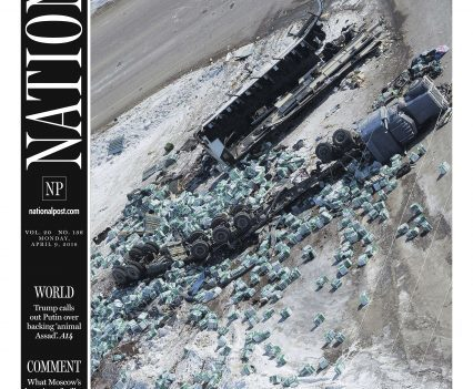"""National Post front page with headline """"Humboldt: Bus tragedy devastates a hockey nation"""""""