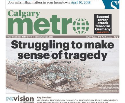 """Calgary Metro front page with headline """"Struggling to make sense of tragedy"""""""
