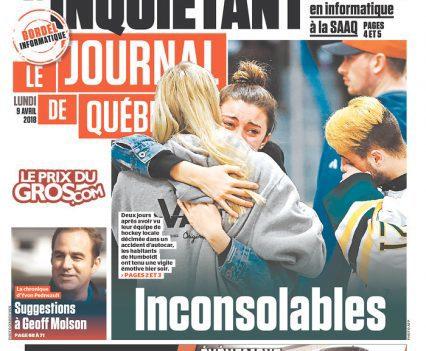 """Le Journal de Québec front page with headline """"Inconsolables"""""""