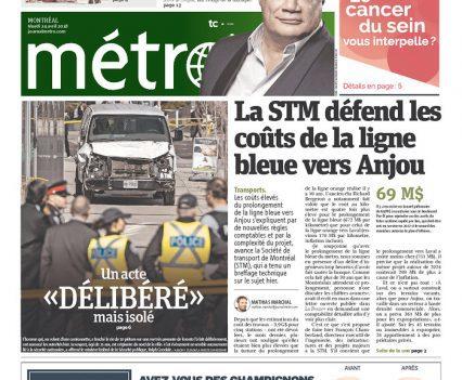 """Métro gront page with headline """"Un acte 'délibéré' mais isolé"""""""