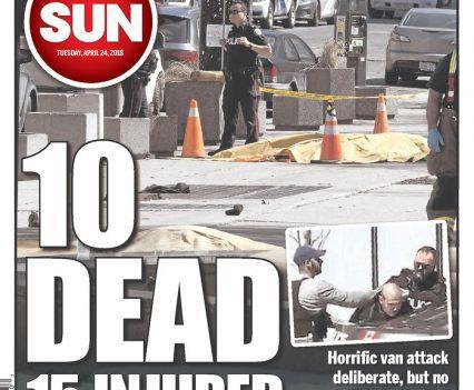 "Ottawa Sun front page with headline ""10 dead, 15 injured"""