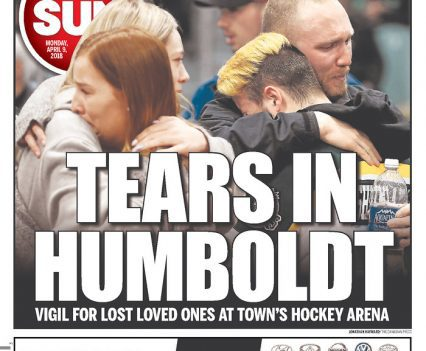 """Ottawa Sun front page with headline """"Tears in Humboldt: Vigil for lost loved ones at town's hockey arena"""""""