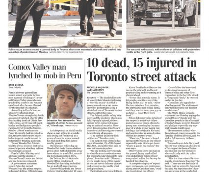 """Times Colonist front apge with headline """"10 dead, 15 injured in Toronto street attack"""""""