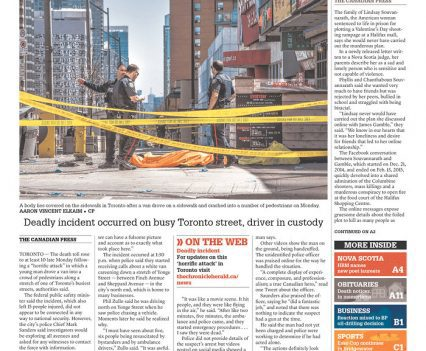 """The Chronicle Herald front page with headline """"Ten dead, 15 injured"""""""