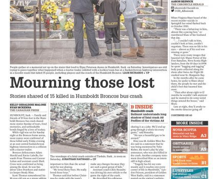 """The Chronicle Herald front page with headline """"Mourning those lost"""""""