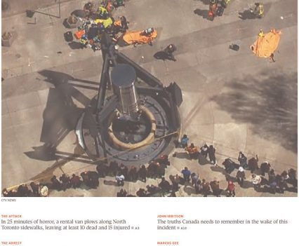 """Globe and Mail front page with headline """"Carnage in Toronto"""""""