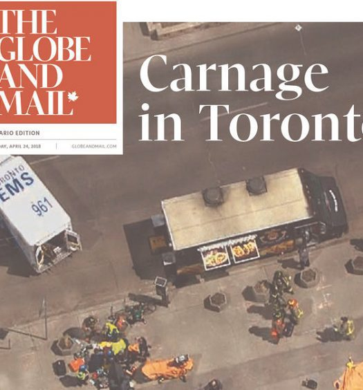 "Globe and Mail front page with headline ""Carnage in Toronto"""