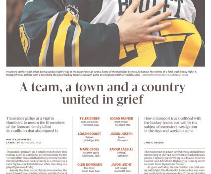 """Globe and Mail front page with headline """"A team, a town and a country united in grief"""""""