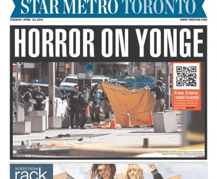 """Star Metro Toronto front page with headline """"Horror on Yonge"""""""
