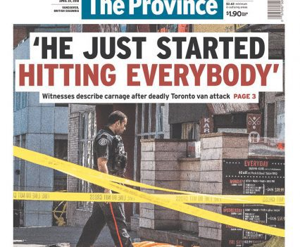 """The Province front page with headline """"'He just starting hitting everybody': Witnesses describe carnage after deadly Toronto van attack"""""""