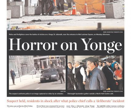 """Toronto Star front page with headline """"Horror on Yonge"""""""