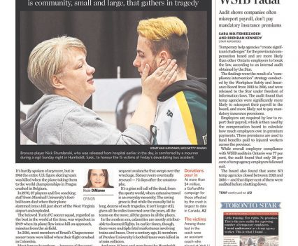 """Toronto Star front page with headline """"'We are all Broncos'"""""""