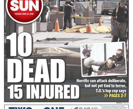 """Toronto Sun front page with headline """"10 dead, 15 injured"""""""