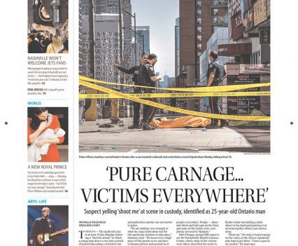 """Winnipeg Free Press front page with headline """"'Pure carnage...victims everywhere'"""""""